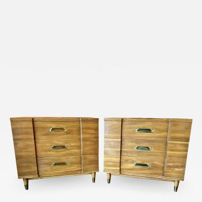 John Widdicomb Co Widdicomb Furniture Co Pair John Widdicomb Mid Century Walnut Chests of Drawers