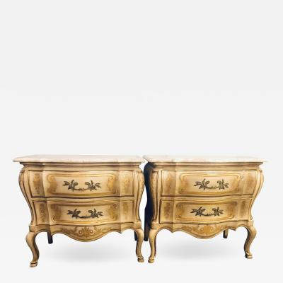 John Widdicomb Co Widdicomb Furniture Co Pair of John Widdicomb Louis XV Style Marble Top Bombe Commodes or Nightstands