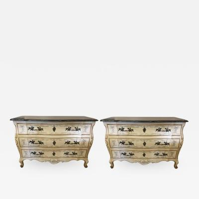 John Widdicomb Co Widdicomb Furniture Co Pair of Painted Bombe Marble Top Chests or Commodes by John Widdicomb
