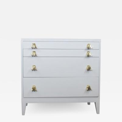 John Widdicomb Co Widdicomb Furniture Co Widdicomb White Lacquered Dresser Cabinet with Brass Pulls