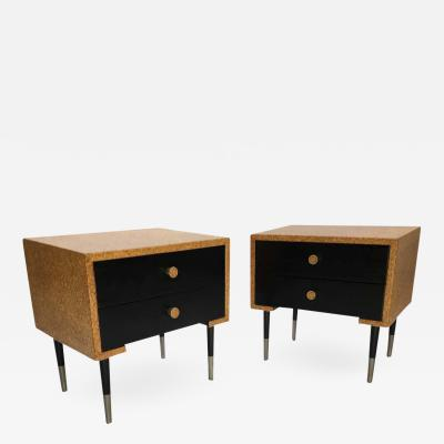 Johnson Furniture Pair of Paul Frankl Cork Clad Nightstands by Johnson Furniture Company