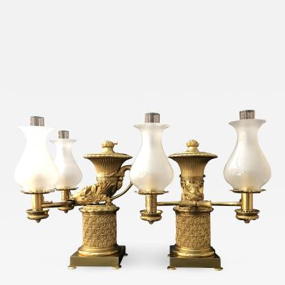Johnston Brookes Company A Pair of Regency Two Light Argands