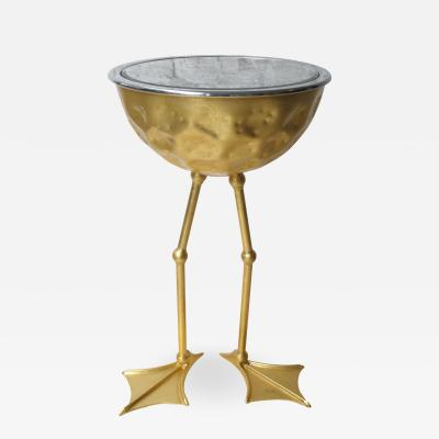 Johntomjoe Flamingo Ice Bucket Side Table in Gold Leaf by Johntomjoe