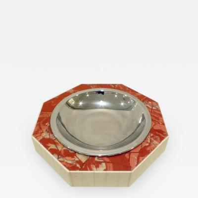 Jonson Marcius Jonson Marcius Decorative Bowl in Red Marble with Bone Accents 1970s