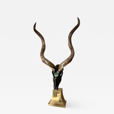 Jonson Marcius Jonson Marcius Kudu Skull Sculpture Style of Karl Springer