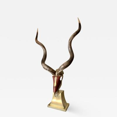 Jonson Marcius Kudu Skull Sculpture Style of Karl Springer