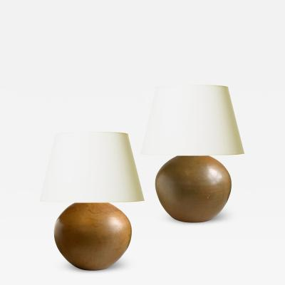 K hler Duo of Organic Modern Table Lamps in Earthy Tones by Kahler