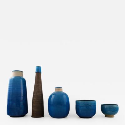 K hler Five K hler vases Denmark glazed stoneware vases Nils K hler