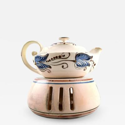 K hler Glazed stoneware teapot with heater for tea lights