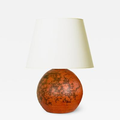K hler Keramik Exceptional Table Lamp in Orange Burgundy Glaze by Kahler Keramik