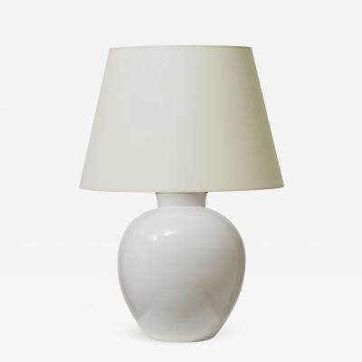 K hler Keramik Large Hand Turned Table Lamp in Crisp Off White Glaze by Kahler