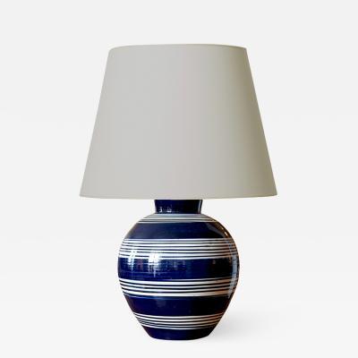 K hler Keramik Large Nattily Striped Ivory Indigo Table Lamp by K hler Keramik