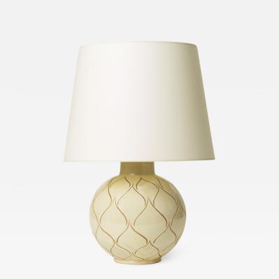 K hler Keramik Table Lamp in Ivory Glaze with Sgraffito Ogival Design by K hler