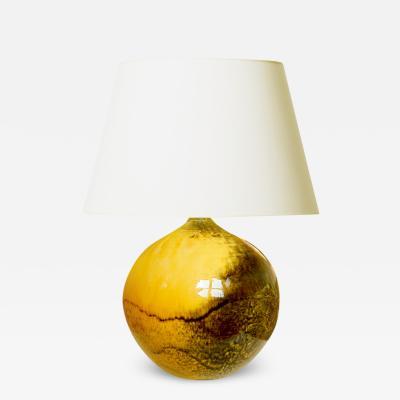 K hler Keramik Table lamp in saturated yellow black glaze by K hler Keramik
