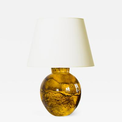 K hler Large Deco Table Lamp in Yellow BlacK Glaze by Kahler