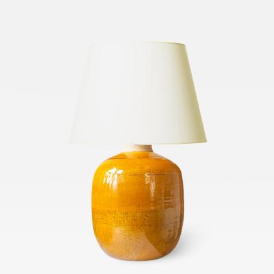 K hler Large Mod Table Lamp in Yellow Glaze by Nils Kahler