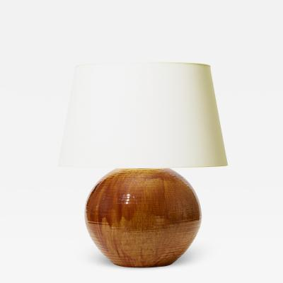K hler Monumental Table Lamp in Flowing Golden Glaze by Kahler Keramik