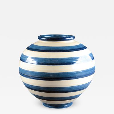 K hler Natty Striped Vase in Blue and Ivory Glazes by Kahler Keramik