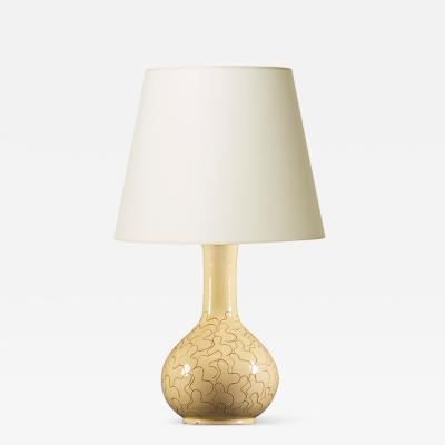 K hler Table lamp in ivory with sgraffito leaf pattern by K hler