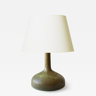 K hler Table lamp with Patterned Green Glaze by Kahler Keramik