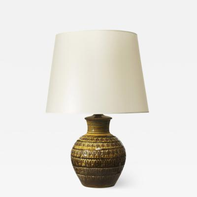 K hler Table lamp with intaglio leaves in yellow black by K hler