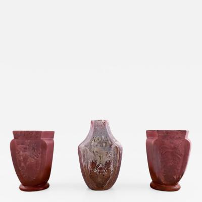 K hler Three K hler vases with luster glaze Karl Hansen Reistrup