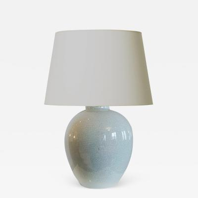 K ramos Superb Large Celadon Craquel Lamp by K ramos