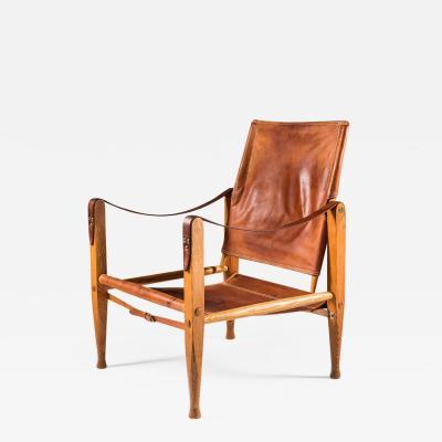 Kaare Klint Edvard Kindt Larsen Scandinavian Mid Century Safari Chair by Kaare Klindt in Cognac Leather