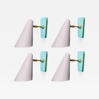 Kada Set of Four Dust Pink and Teal Cone Wall Sconces