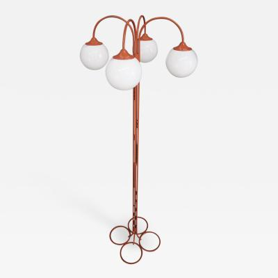 Kaiser Idell Kaiser Leuchten Kaiser Co Rare Floor Lamp Midcentury attributed to Kaiser in orange metal four ligh 1970