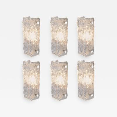 Kaiser Leuchten One of Six Ice Glass Sconces of Wall Lights by Kaiser Leuchten