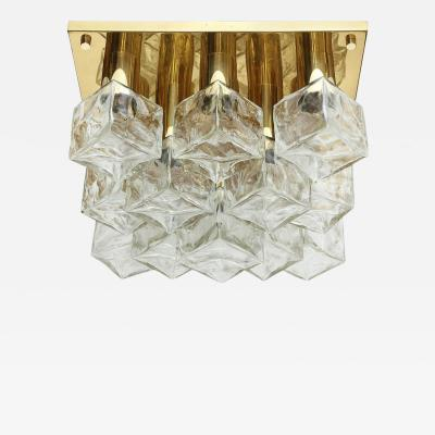 Kalmar Franken KG Kalmar Brass and Glass Ice Cube Flush Mount
