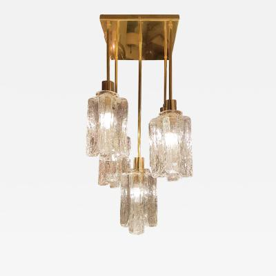 Kalmar Franken KG Mid Century Modern Murano Glass Brass Flush Mount light by Kalmar