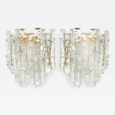 Kalmar Franken KG Pair ofIce Glass Sconces by Kalmar