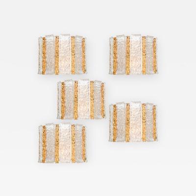 Kalmar Franken KG Set of 5 J T Kalmar Drum Wall Sconces Gold Plated and Ice Glass Austria