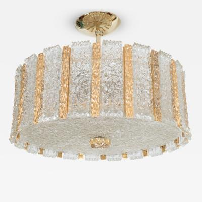 Kalmar Gilt Bronze Chandelier with Glass Inserts