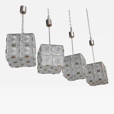 Kalmar Group of Four Glass Kalmar Cube Light Fixtures