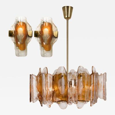 Kalmar Lighting 3 Light Fixtures by J T Kalmar Crystal Glass 1 Chandelier and 2 Wall Lights
