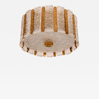 Kalmar Lighting J T Kalmar Drum Flush Mount Gold Plated and Frosted Ice Glass Austria 1960s