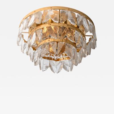 Kalmar Lighting Kalmar Three Tier Flush Mount Gilt Brass and Glass 1970
