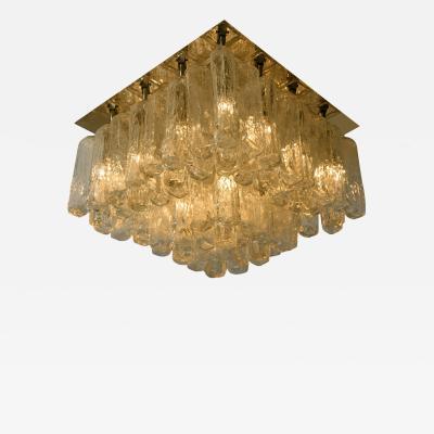 Kalmar Lighting Large Kalmar Glass Brass Flush Mount Granada Austria 1960
