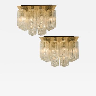 Kalmar Lighting Pair of Large Kalmar Glass Brass Flush Mounts Granada Austria 1960