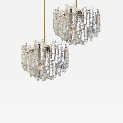 Kalmar Lighting Pair of Large Modern Brass Ice Glass Chandeliers by J T Kalmar