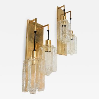 Kalmar Lighting Pair of Murano Glass Kalmar Brass Mid Century Modern 2 Light Sconces