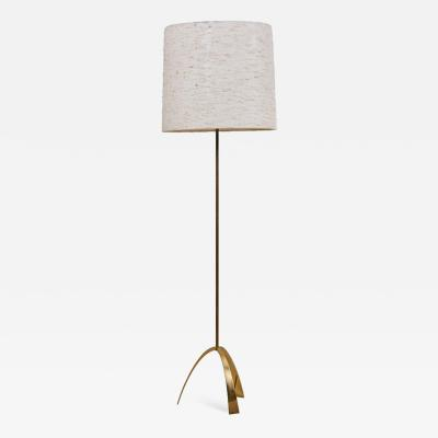 Kalmar Lighting Rare Kalmar 2105 Silone Floor Lamp in Brass and Fabric Austria 1950s