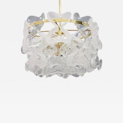Kalmar Lighting Rare Kalmar Austria Chandelier in Brass and Glass 1960s