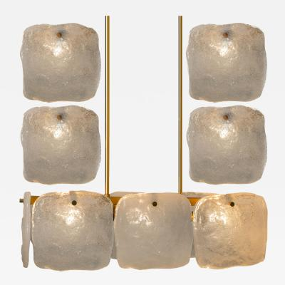 Kalmar Lighting Set Glass and Brass Light Fixtures Designed by J T Kalmar Austria 1960s