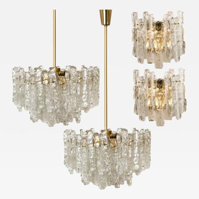 Kalmar Lighting Set of Four Kalmar Ice Glass Light Fixtures Two Wall Scones and Two Chandeliers