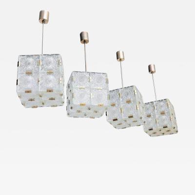 Kalmar Lighting Two Pairs of Glass Kalmar Vintage Cube Chandeliers