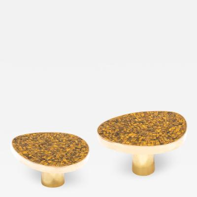 Kam Tin Pair of Tiger eye side tables